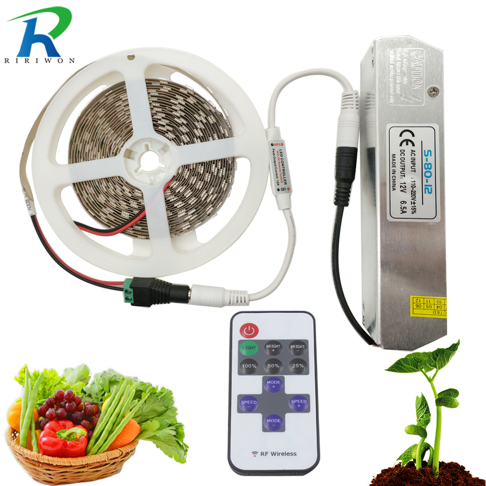 LED Grow Lights Full Spectrum DC 12V Growing LED Strip Light Plant Growth 5M Set with Power and RF Dimmable for Plant Growing