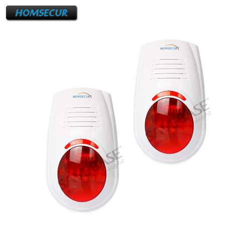 HOMSECUR 2PCS Wireless Strobe And Flash Siren Indoor Outdoor For Our Alarm System A6 wireless flash strobe outdoor indoor siren red light 125db 433mhz for our gsm pstn alarm system