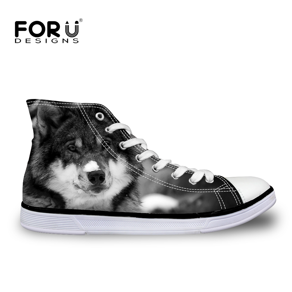 FORUDESIGNS Cool Animal Wolf Pattern Men's Vulcanized Shoes High Top Men Casual Canvas Shoes for Teenage Lace-up Flats Shoes Man forudesigns women fashion high top flats shoes cool skull design female height increasing platform shoes for teenage girls shoes