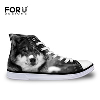 FORUDESIGNS Cool Animal Wolf Pattern Men's Vulcanized Shoes High Top Men Casual Canvas Shoes for Teenage Lace up Flats Shoes Man