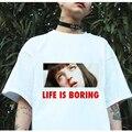 T-shirt dos homens T-shirt dos homens dos homens t-shirt top T-shirt 2017 Verão novidade Camiseta Femme A Vida é Chata Letras Impressas Mulheres Tshirt