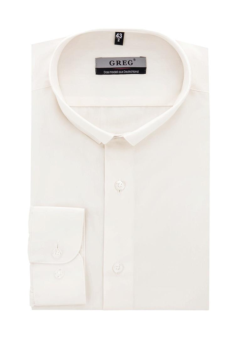 Shirt men's long sleeve GREG 510/139/CRL/Z/B Beige 3d bird and flower printed plain fly shirt collar long sleeves shirt for men