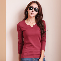 New V Neck T Shirt Women Tops 2017 Autumn Long Sleeve Cotton Solid Casual Slim T