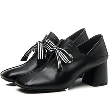 Casual Shoes Women Lace Up Genuine Leather Chunky High Heels Party Pumps Laddy Office Shoes Wedding Mary Janes Shoes Size 3-10.5 sorbern fashion mary janes women pumps black shiny high heels chunky heeled platform shoes night party shoes pole dance shoes