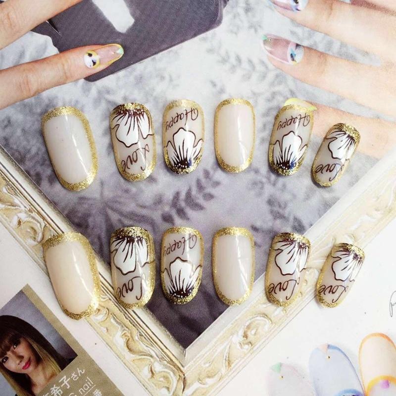 Fashion Round False Nails Natural White Fake Nail Glitter Gold ...