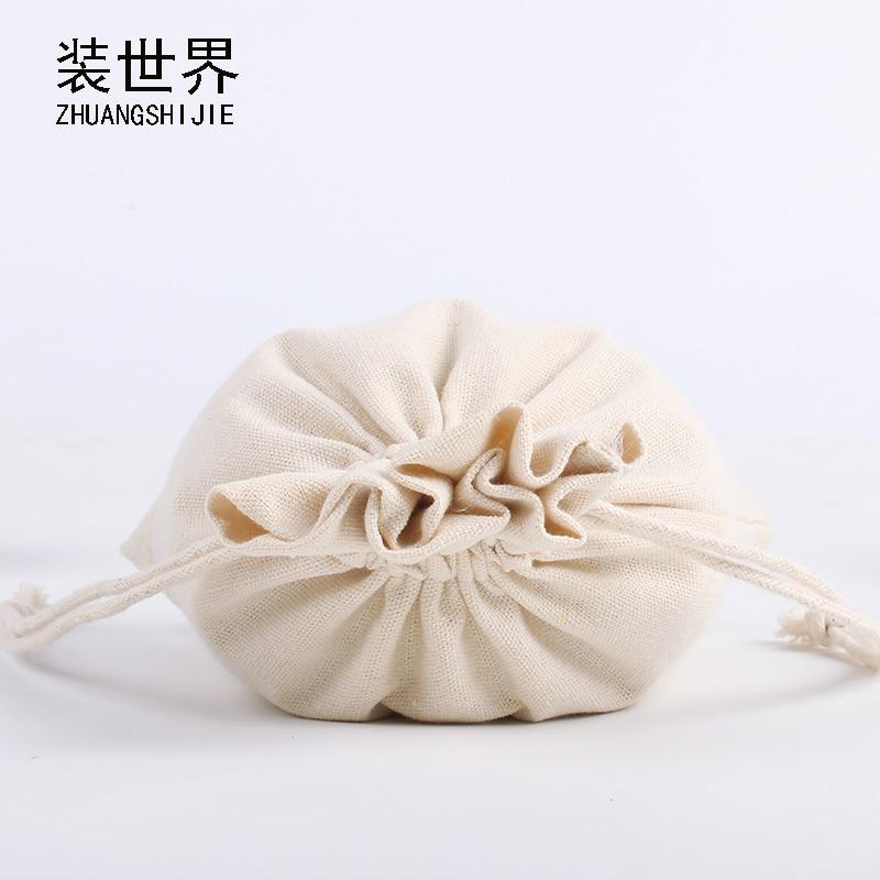 3pcs 20*30cm Wholesale Natural Cotton Eco Jute Linen Drawstring Pouch Packaging Gift Bag Logo Printed Jewelry Tea Party Bag