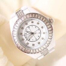 2016 Reloj de Cuarzo de la Manera de Cerámica reloj de Las Mujeres Relojes de diamantes de Imitación de plata Vestido de Las Señoras relojes Reloj mujer montre femme del relogio