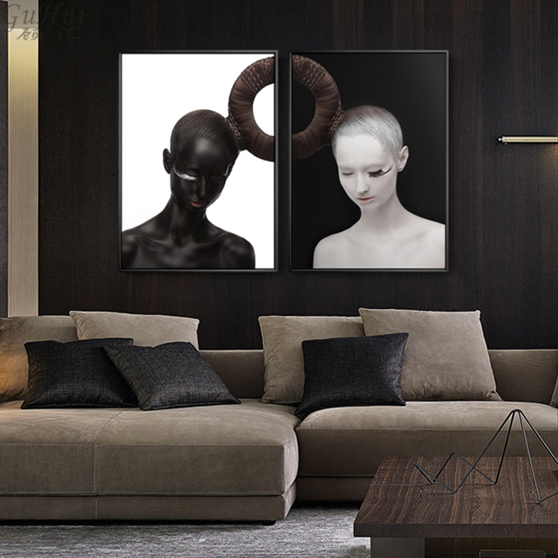 Painting & Calligraphy Popular Brand Nordic Black And White Abstract Man Figure Canvas Painting Scandinavian Swing Girl Boy Wall Picture Living Room Decora Poster