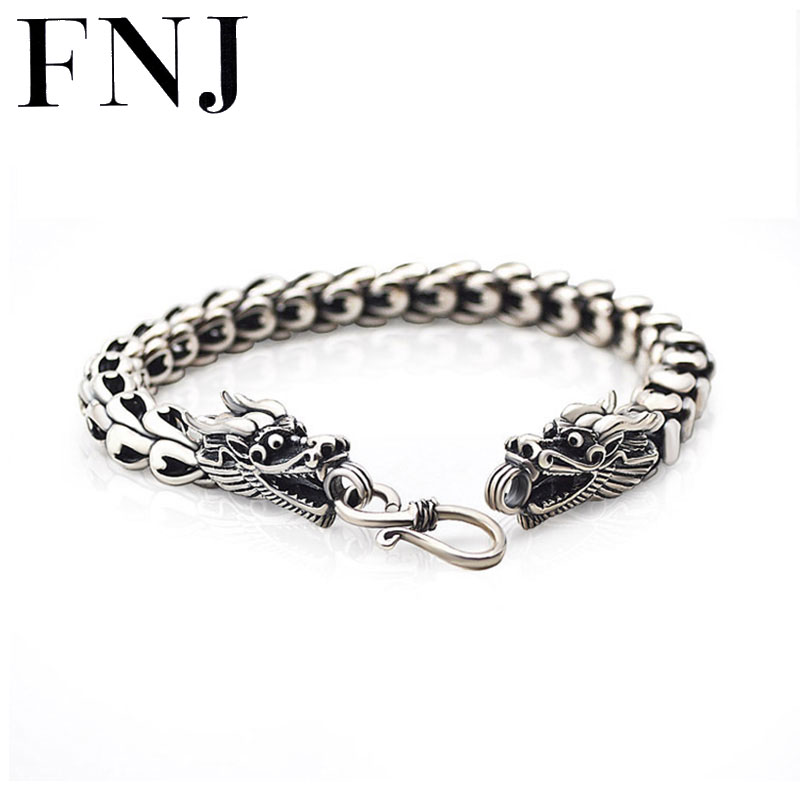 Statement Big Bracelet 925 Sterling Silver 4-8mm 18-22cm Hand Chain S925 Solid Thai Silver Interfax Dragon Bracelets Men Jewelry 8mm wide 20cm 925 sterling silver vintage heavy chinese dragon body bracelet men thai silver gift jewelry ch058041