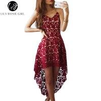 Hollow out sexy vino rojo mujeres vestido de correa de hombro Encaje Maxi Long Beach Party Vestidos V Masajeadores de cuello Otoño Invierno vestidos de noche