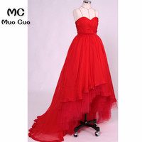 2018 Lovely Hi Lo Gown Prom Dresses Long Tulle Sweep Train Spaghetti Straps Red Formal Evening Party Dress for Women 100% Real