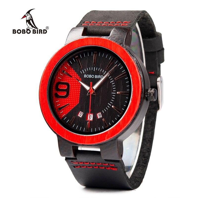 BOBO BOIRD Lederen Band Polshorloges Houten Horloge Auto Datum Speciale Kleur Nieuwe Ontwerp Quartz Uurwerken relogio masculino K Q20-in Quartz Horloges van Horloges op
