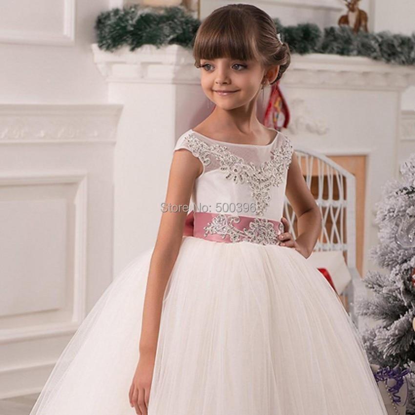 c6a31ac5d Encanto Lace Appliques vestido de bola flor niñas vestidos banquete de boda  2016 largo Scoop niñas vestidos formales para ocasión especial en Vestidos  de ...