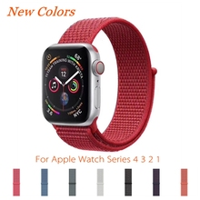 Sport Loop Strap For Apple Watch Band 4 3 44mm 42mm iWatch Band 2 1 40mm 38mm Accessories New Colorful Soft Nylon Wrist Bracelet все цены