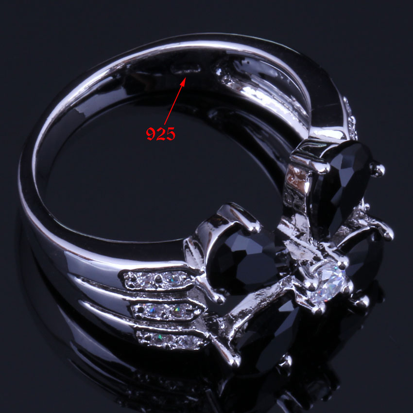 Brilliant Flower Black Cubic Zirconia White CZ 925 Sterling Silver Ring For Women V0429 in Rings from Jewelry Accessories