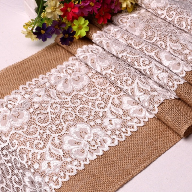 WLIARLEO Knitted Table Runner Floral With Lace High Quality Festival ...