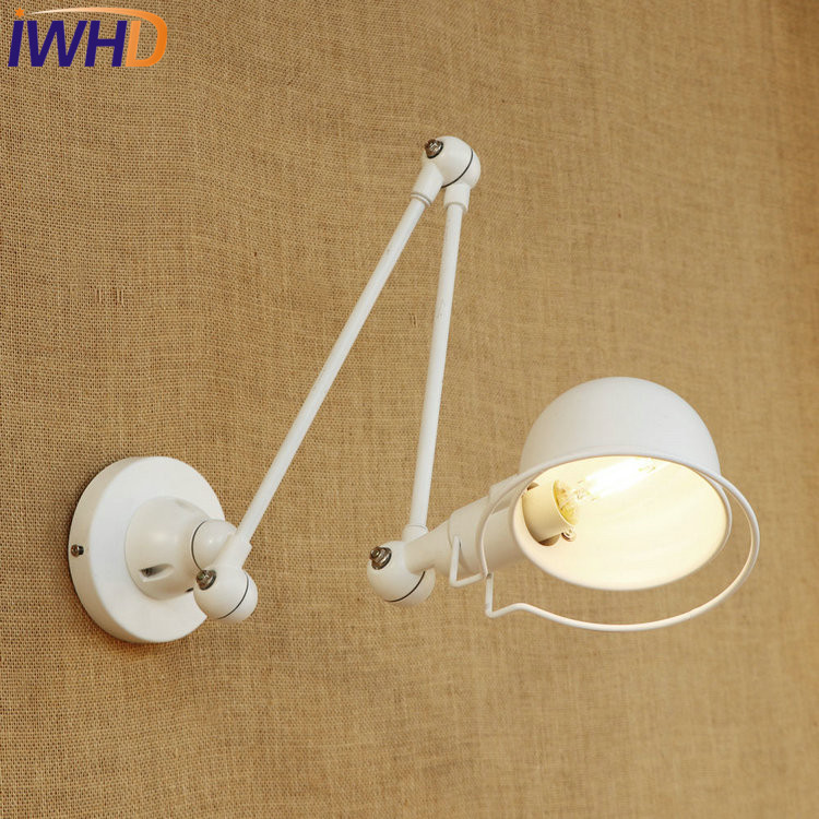 IWHD Loft Style Double Swing Arm LED Wall Sconce Bedside Wall Lamp Industrial Vintage Wall Light Fixtures For Home Lighting free shipping mean well hln 80h ip64 80w 12v 42v 48v 54v 181 61 35mm 90 305vac single output switching power supply