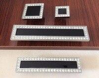 Black Crystal Dresser Knobs Luxury Drawer Handles Square Glass Cabinet Handle Knob Kitchen Cupboard Handle Bling