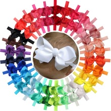 30 Pcs Colors 4.5 inches Grosgrain Ribbon Baby Girls Hair Bows Headbands for Infants Newborn and Toddlers