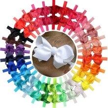 30 Pcs Kleuren 4.5 Inch Grosgrain Lint Baby Meisjes Hair Bows Hoofdbanden Voor Zuigelingen Pasgeboren En Peuters