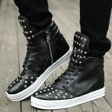 2016Spring New Arrival Rivets Men s Casual Shoes Cow Split High Help Shoes Man Soft Martin