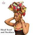 Handmade Multi-color Headwear Headband Ankara Head Decorations Wrap Scarf Necklace African Hair Accessories Gele Ipele WYB20