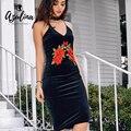 Azulina floral bordado sin respaldo correa de espagueti negro mujeres bodycon dress sin mangas femenina 2017 primavera sexy party club dress
