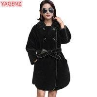 YAGENZ высокое качество Для женщин искусственного меха Шерстяное пальто модное двубортное сплошной цвет длинное меховое пальто новая куртка