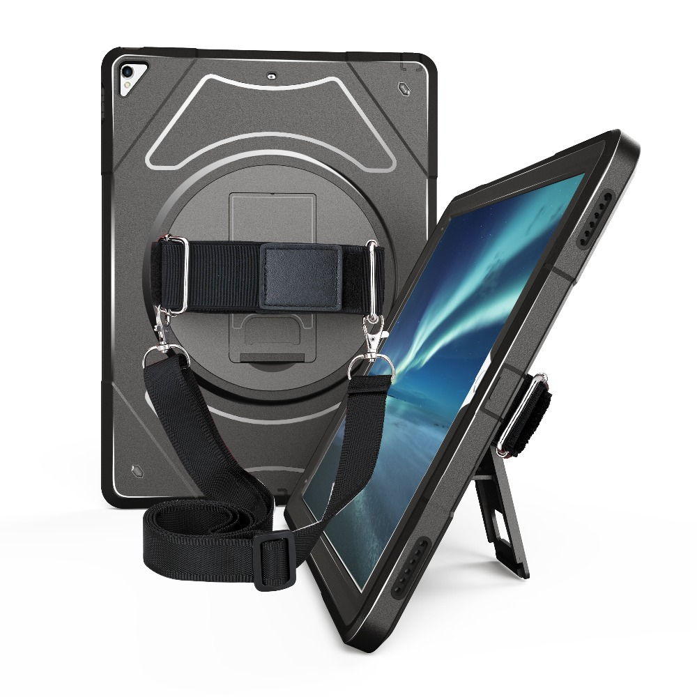 Case for iPad Pro 12.9 inch 2017 2015 with 360 Degree Rotating Kickstand & Shoulder Strap Shockproof Drop Protection Cover MTL03