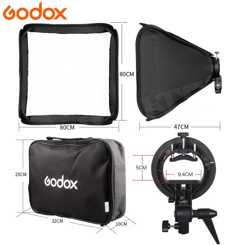 Godox 80*80 cm Softbox plegable 80x80 Flash plegable + soporte tipo S Bowens soporte + Kit de bolsa para Flash de estudio fotográfico speedlite - 3