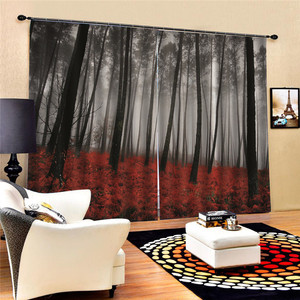 Image 3 - Bookcase Living Room Digital Print 3D Blackout Curtains Watercolor for Bedroom Decor Window Treatment Polyester Decoration Oct29