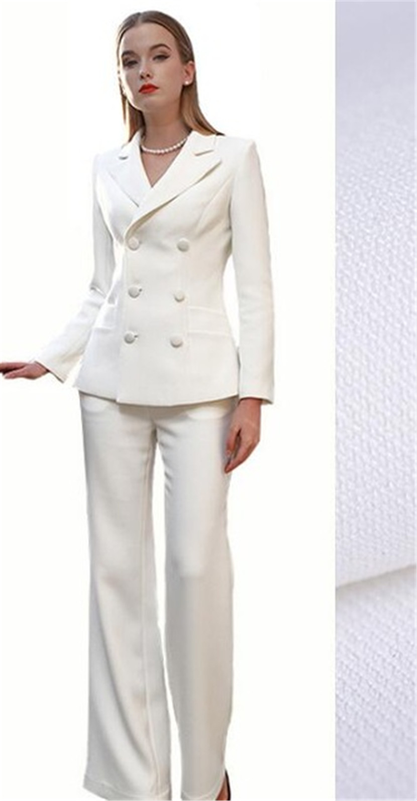 17b5fd20cb8 Ivory Women s V Neck Pants Suits Photo Shoot Suits Cool Girl Suits ...