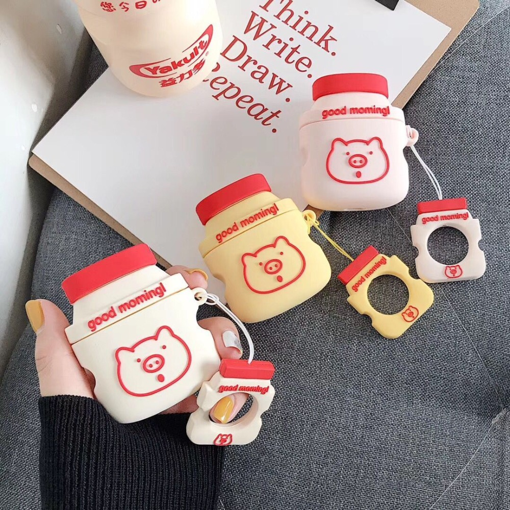 For AirPods Case Cartoon Cute Funny Yogurt Drink Bottle Earphone Protect Cover For Airpods with Finger Ring Strap