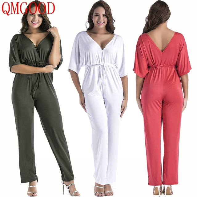 36139778ac0d QMGOOD Fat MM Female Loose Jumpsuit Sexy V Collar Overalls Short ...