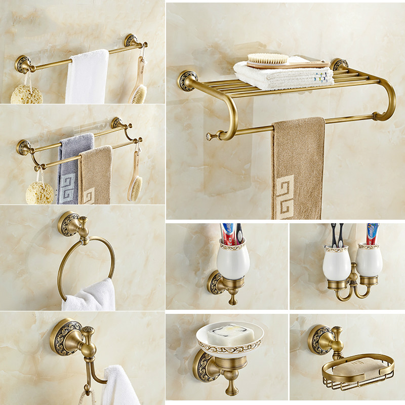 Antique Brushed Brass Bathroom Accessories Sets European Carving Bronze  Bathroom Hardware Set Bathroom Products Rw2(