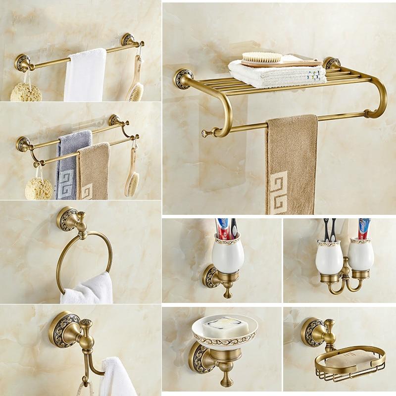 Etonnant Antique Brushed Brass Bathroom Accessories Sets European Carving Bronze Bathroom  Hardware Set Bathroom Products Rw2(