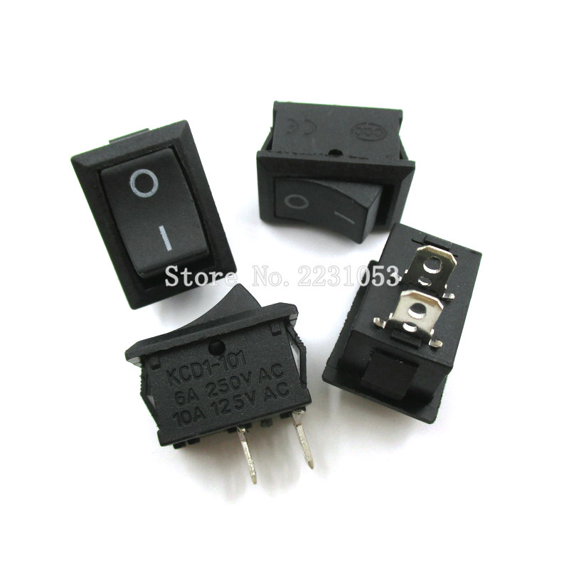 10PCS/LOT 15*21mm 2 Pin SPST ON/OFF Boat Rocker Switch 6A-10A 110V 250V KCD1-101 Snap-in Black Rocker Switches promotion 10pcs ac 6a 10a 250v on off snap in spst round boat rocker switch black