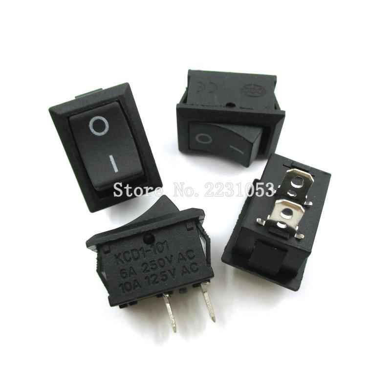 10PCS/LOT 15*21mm 2 Pin SPST ON/OFF Boat Rocker Switch 6A-10A 110V 250V KCD1-101 Snap-in Black Rocker Switches