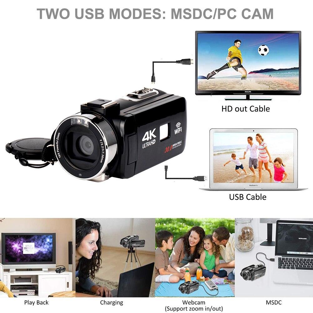 Caméra vidéo numérique HD 4 K WiFi Ultra 1080 P 48MP 16X ZOOM caméscope + Microphone + objectif grand Angle usage domestique caméra enregistreur vidéo