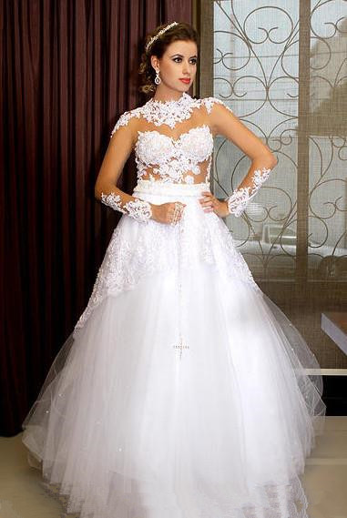 Sexy See Through Plus Size Wedding Dresses 2018 High Neck Long Sleeves Appliques Lace Tulle a-line wedding gown Robe De Mariage