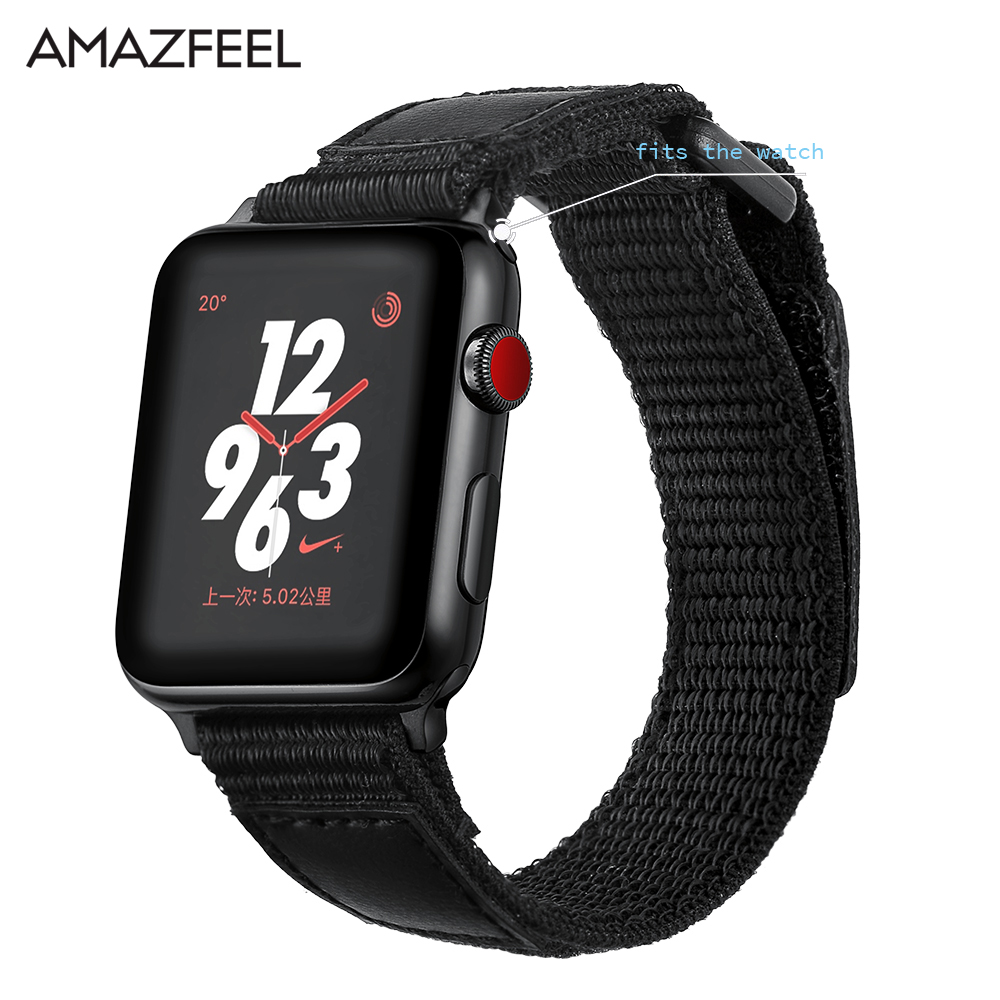 AMAZFEEL Sports Nylon Strap for Apple Watch Band Nylon Loop Clasp Woven Wrist Braclet Be ...