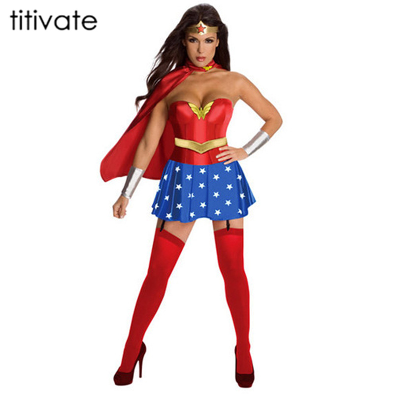 TITIVATE Halloween Party Cosplay Disfraces Wonder Woman Super Superhero Costume Supergirl Halloween Costume Fancy Dress