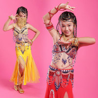 Girl Belly Dance Costume 4 PCS Red/Rose/Yellow/Green/Rose Children Bollywood Dance Costumes Kids Clothing For Dance Belly Dancer