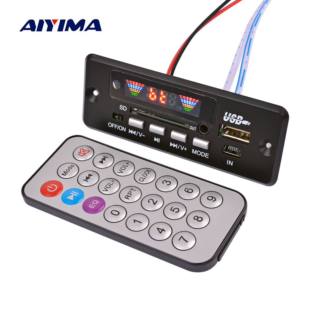 AIYIMA Bluetooth MP3 Decoder 4 Colors Screen Bluetooth 5.0 Receiver WMA WAV FLAC Decoding <font><b>2x3W</b></font> <font><b>Amplifier</b></font> Support FM USB SD AUX image