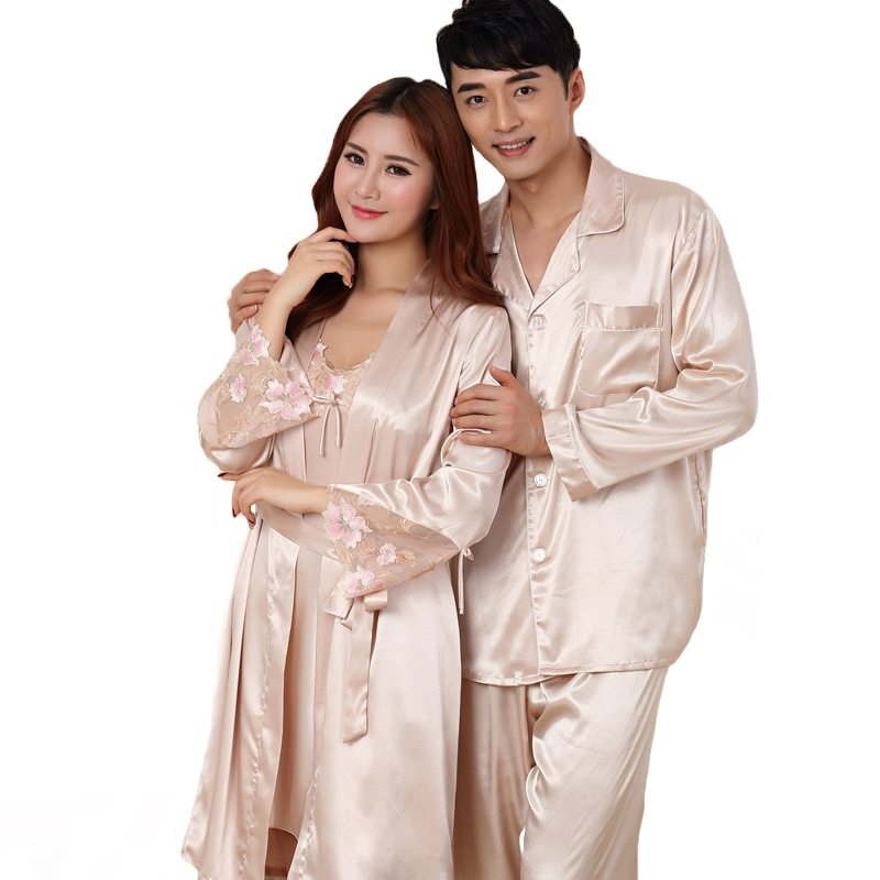 Summer New Rayon Lovers Pajamas Set Plus Size 3XL Long Sleeve Nightwear 2 PCS Shirt&Pant Couple Home Wear Casual Sleepwear 3XL
