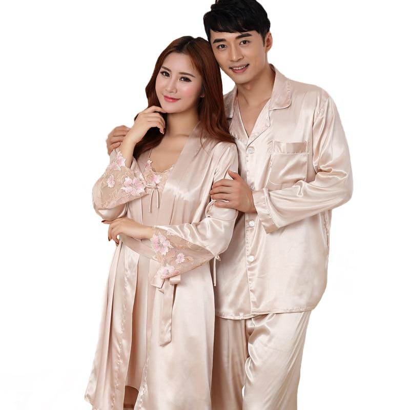Summer New Rayon Lovers Pajamas Set Plus Size 3XL Long Sleeve Nightwear 2 PCS Shirt&Pant Couple Home Wear Casual Sleepwear 3XL