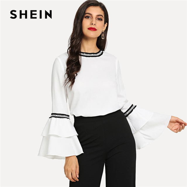 edf42f82df SHEIN White Pearl Detail Layered Beaded Flounce Sleeve Keyhole Back Top  Elegant Casual Round Neck Blouses Women Autumn Blouse