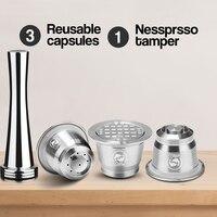 Ev ve Bahçe'ten Kahve Filtreleri'de 3 kapsül 1 sabotaj Nespresso paslanmaz çelik doldurulabilir kullanımlık kahve kapsül kahve sabotaj Pod Nespresso makinesi