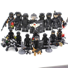 legoinglys military 8pz City Police SWAT Team mini Army Soldiers figures With Weapons WW2 Building Blocks Toys for children gift(China)