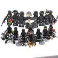 Legoinglys militar 8pz de policía de la ciudad de SWAT Equipo mini soldados del ejército de cifras con las armas WW2 bloques de construcción de juguetes para niños de regalo